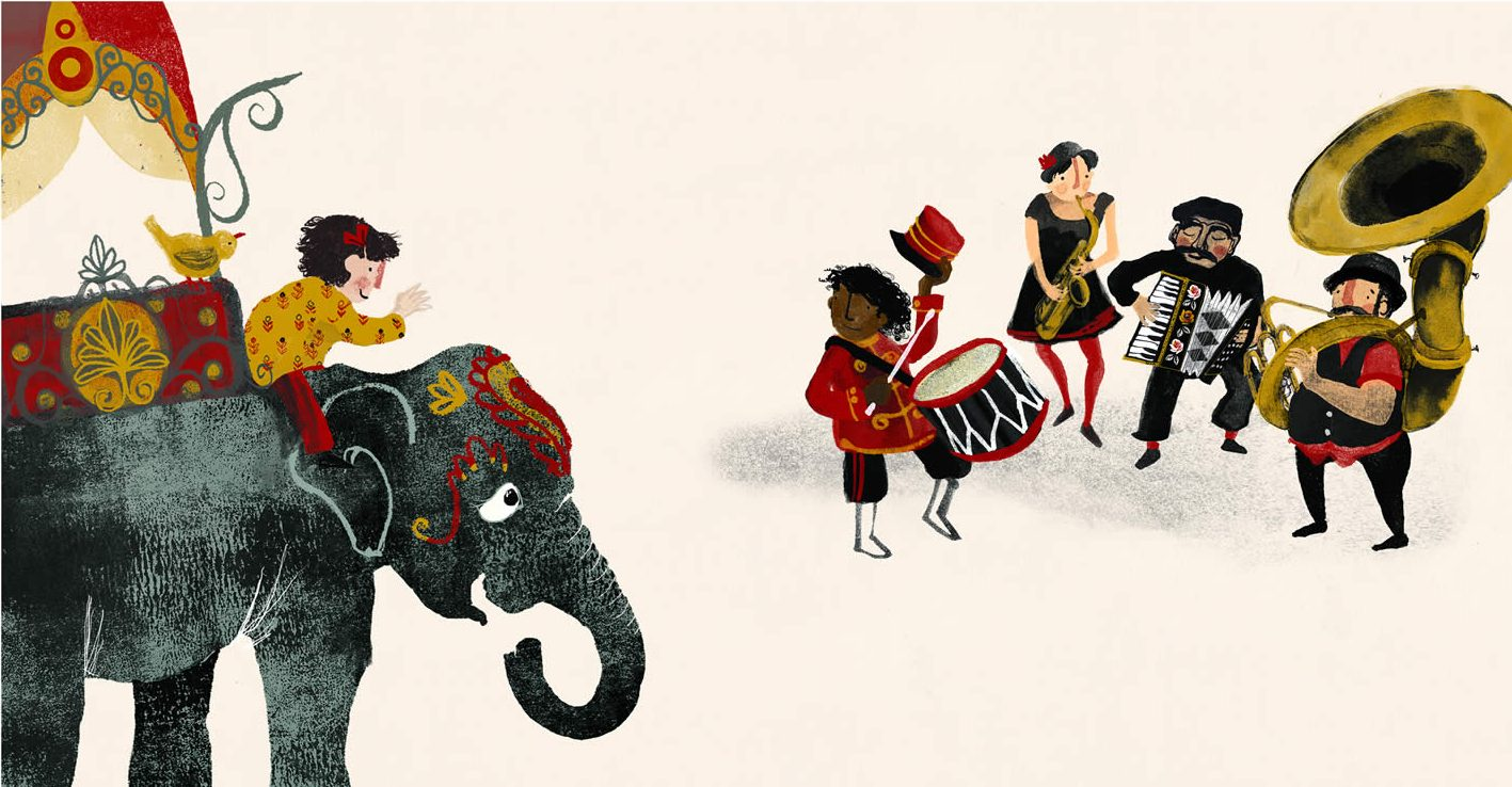 Illustration of a band with accordion, drum, saxophone and sousaphone. Child riding an elephant