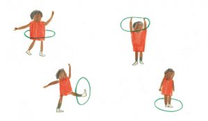 Illustration of child playing with a hula hoop, by Maisie Shearring