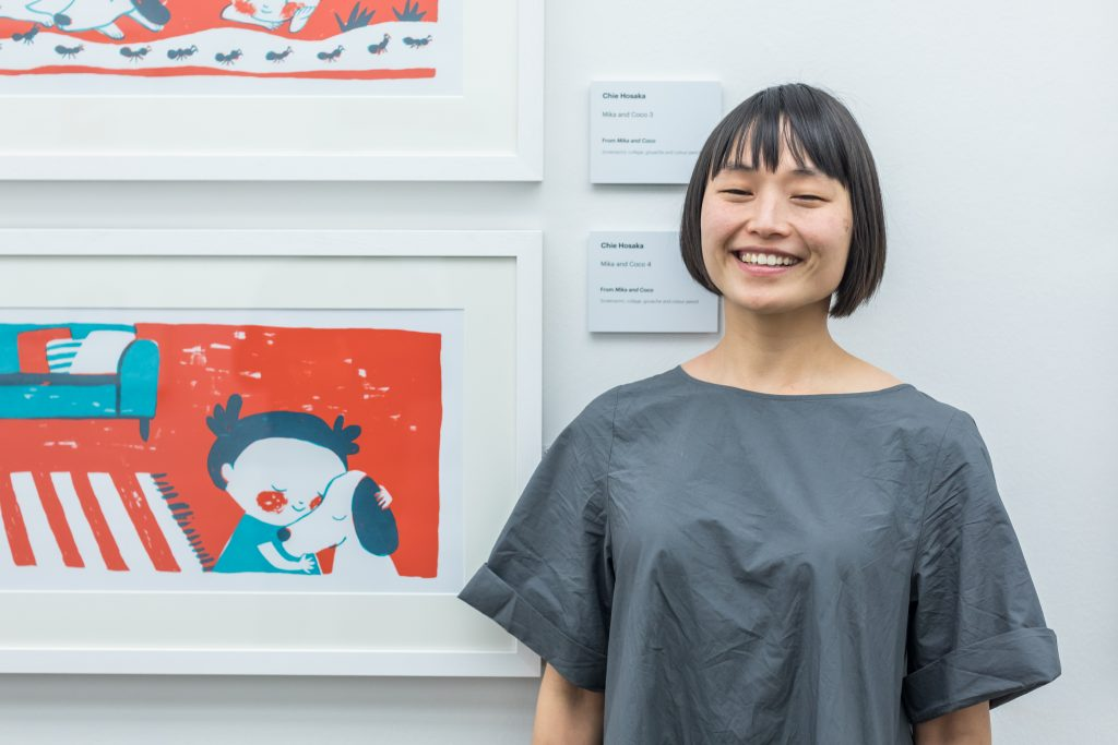 Chie Hoska standing with her artwork at NGS Modern One
